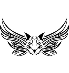 Head cat with wings tattoo stencil vector