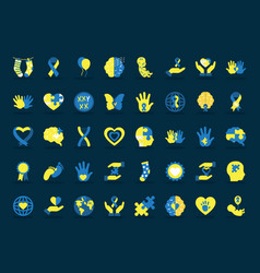 Icon set down syndrome flat style vector