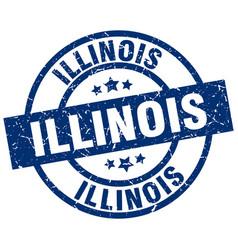 Illinois blue round grunge stamp vector