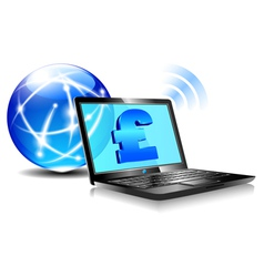 Internet laptop money pound pay online vector
