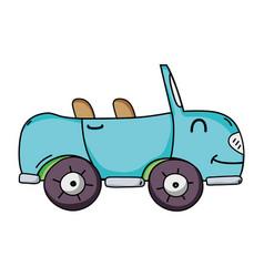 Kawaii smile sport car transport vector