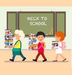kids with books flat vector image