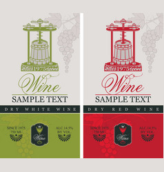 labels for wine with a wine press and barrel vector image