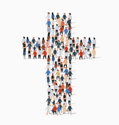 Large group people in form christian cross vector