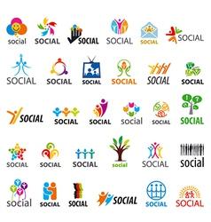 Large set logos social vector