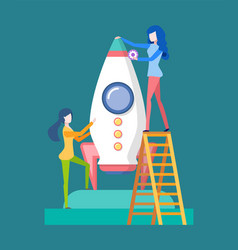Launching rocket startup and women working vector