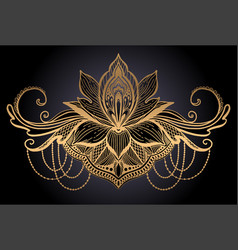 Lotus flower ethnic symbol gold gradient color in vector