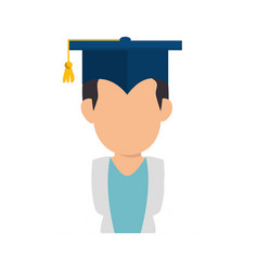 Man with graduation cap vector