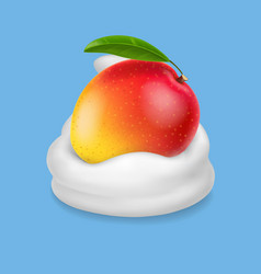 Mango in yogurt or whipped cream realistic fruit vector