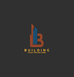 modern building logo template with initial b vector image
