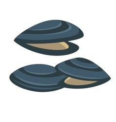 Mussel Fresh and tasty seafood icon vector