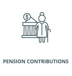 Pension contributions line icon linear vector