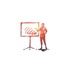 presentation woman board business report vector image