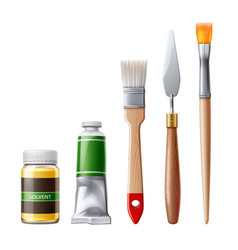 Realistic oil paint tube brush for drawing vector
