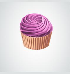 realistic pink cream cupcake eps10 vector image