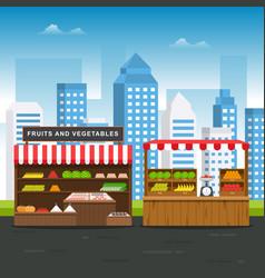 Roadside fruit vegetable store stall stand vector