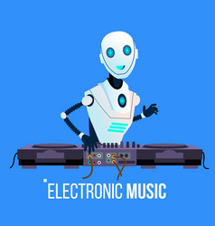 robot dj leads the party playing electronic music vector image