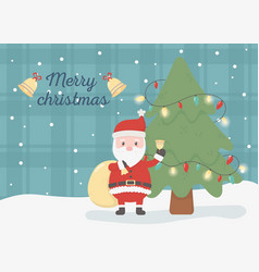 santa with gift bag celebration happy christmas vector image