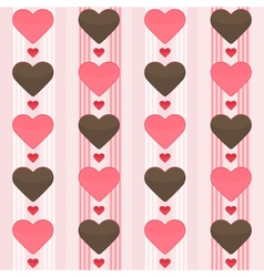 Seamless pattern with many brown and red hearts on vector image
