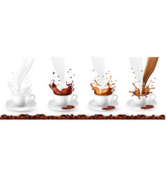 Set coffee cappuccino and milk splash in cups vector
