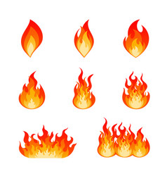 set of burning fire flame and hot blazing bonfire vector image
