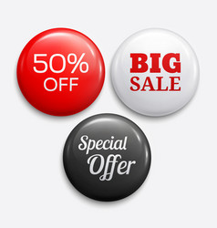 set of glossy sale buttons or badges vector image