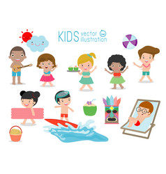 set of kids having fun on the beach children play vector image