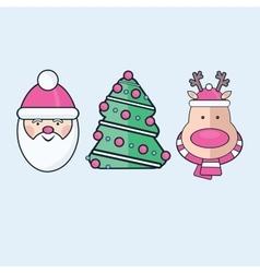 Set of three Flat Christmas Icons Santa tree vector image
