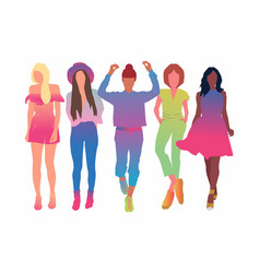 set pretty young women or girl dressed in vector image