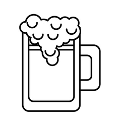 Silhouette monochrome with foamy beer glass vector