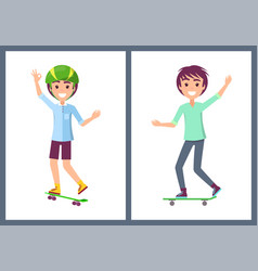 skaters collection teenagers vector image
