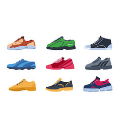 sneakers flat colorful sport shoes with different vector image