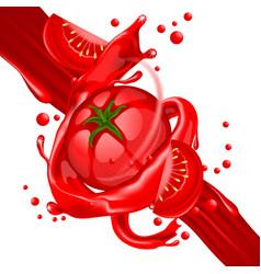 Splash of tomatoes juice in motion vector