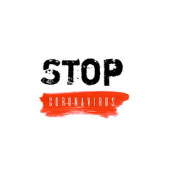 Stop coronavirus ink watercolor icon vector