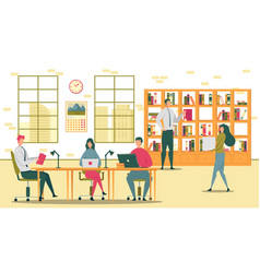 students prepare for exams in university library vector image