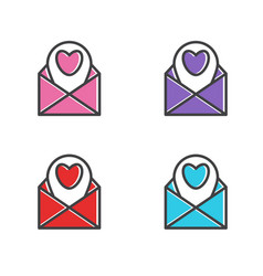 template icon letter with heart vector image