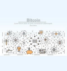 thin line art bitcoin poster banner vector image