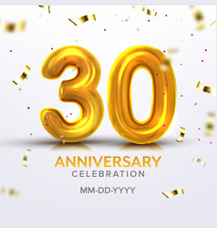 thirtieth anniversary celebration number vector image