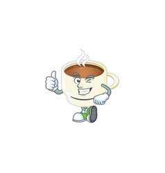 Thumbs up character cup coffee in cartoon mascot vector