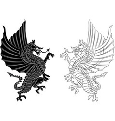 Tribal tattoo dragon on white background vector