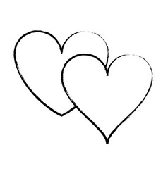 two hearts isolated sketch vector image