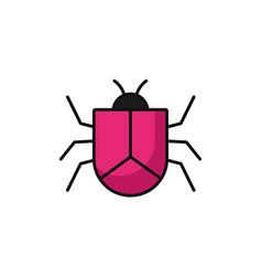 virus bug attack internet flat line style vector image