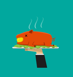 waiter hand serving grilled suckling pig on plate vector image