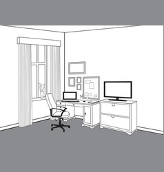 workspace view at home office workplace with vector image