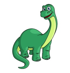 Adorable green cartoon dinosaur mascot vector image