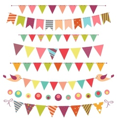 bunting and garland set isolated on white vector image vector image