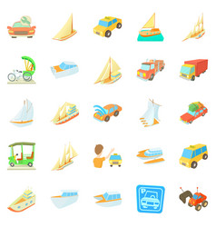 catch the car icons set cartoon style vector image