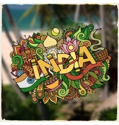 India hand lettering and doodles elements vector image vector image