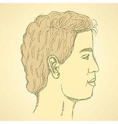 Sketch cute man in profile vector image vector image