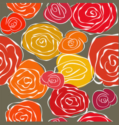 Vintage sketchy roses seamless background vector image vector image
